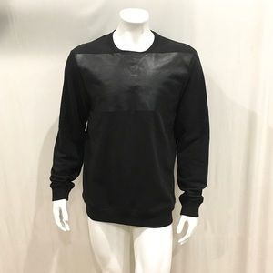 Allsaints Men's Duty Crew Leather Patch Sweater